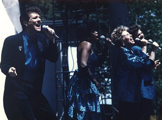 This photo is Terra Nova, Randy Crenshaw's a cappella vocal jazz quartet, live on stage at the Playboy Jazz Festival at the Hollywood Bowl in summer, 1986. Personnel, left to right: Bill New, bass; Gale Johnson, soprano; Barbara Bentree, alto; Randy Crenshaw, tenor (mostly obscured!)...
